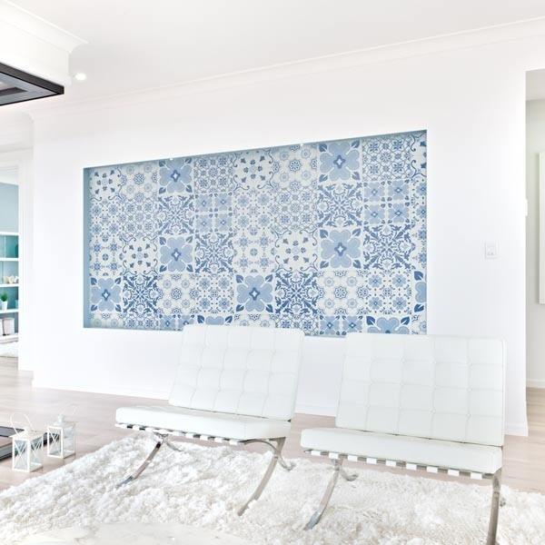 Sticker mural carreau portugais bleu