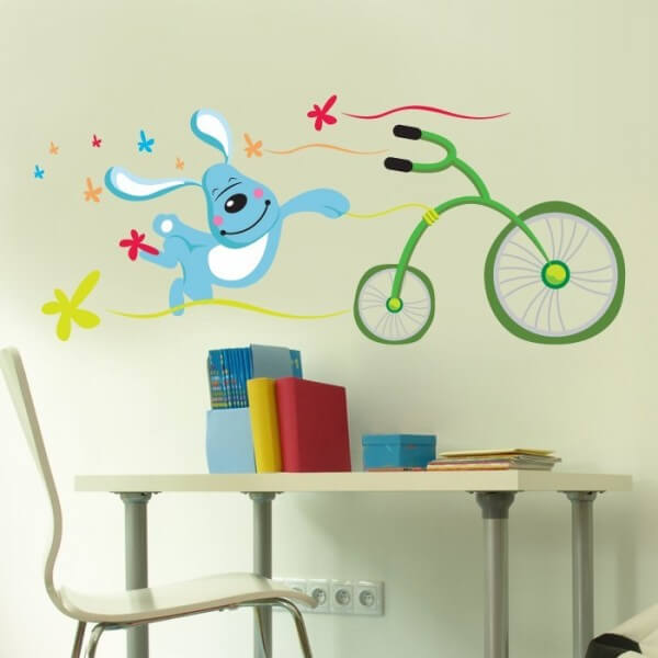 Sticker Mural Enfant Lapin Vélo